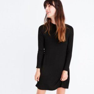 Madewell Black Ribbed High Neck Dress
